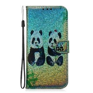 Xiaomi Redmi Note 7 / 7 Pro Læder Cover m. Kortholder Farverige Skinnende Pandaer