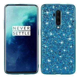 OnePlus 7T Pro Plast Cover m. Glitter - Blå