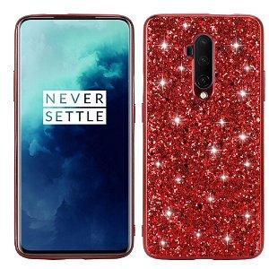 OnePlus 7T Pro Plast Cover m. Glitter - Rød