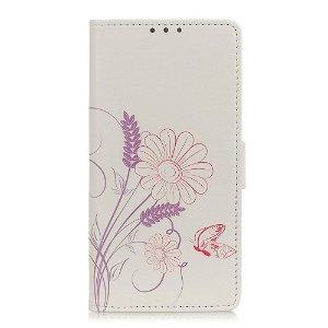 OnePlus 8 Læder Cover m. Kortholder Blomster og Sommerfugl