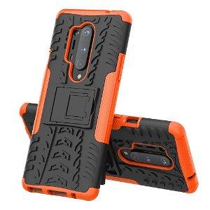 OnePlus 8 Pro Hybrid Håndværker Case m. Kickstand - Sort / Orange