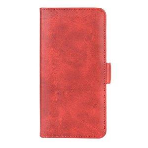 OnePlus 8 Pro Neutralt Læder Cover m. Kortholder & Dobbelt Magnet - Rød