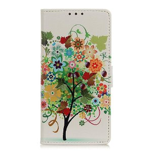 Nokia 1 Plus Læder Cover m. Kortholder Flerfarvet Blomstertræ