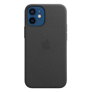 Original Apple iPhone 12 Mini Læder MagSafe Cover Sort (MHKA3ZM/A)