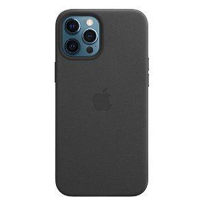 Original Apple iPhone 12 Pro Max Læder MagSafe Cover Sort (MHKM3ZM/A)