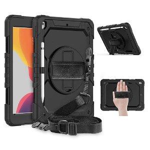 """iPad 10.2"""" (2021 / 2020 / 2019) Tech-Protect Solid360 Case m. Beskyttelsesfilm, Håndholder & Skulderstrop Sort"""
