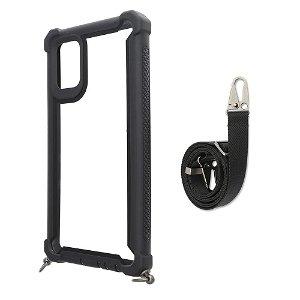 4Smarts Sling Case Samsung Galaxy A51 Håndværker Cover m. Strop - Sort / Gennemsigtig