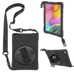"""Samsung Galaxy Tab A 10.1"""" (2019) 4smarts Rugged Tablet Case GRIP Cover m. Håndholder & Skulderstrop - Sort"""