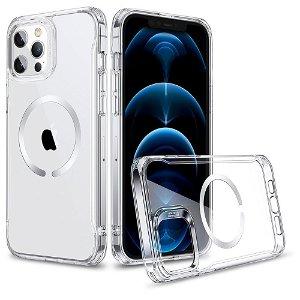 iPhone 12 / 12 Pro ESR Hybrid MagSafe Kompatibel HaloLock Case  - Gennemsigtig / Sølv