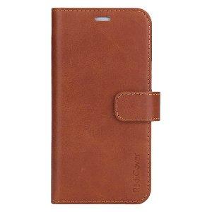 RadiCover 2-in-1 - iPhone 13 - Ægte Læder Flip Case - 86% Strålingsbeskyttelse - Lysebrun
