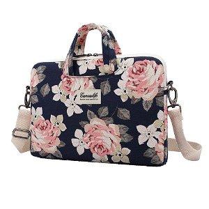 """Canvaslife Briefcase Taske Til MacBook / PC 15-16"""" - Navy Rose"""