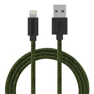 Smartline Fuzzy USB-A til Lightning Kabel 2 m. - Mørkegrøn