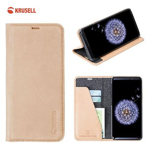 Krusell Sunne 2 Card Folio Wallet Samsung Galaxy S9 Læder Flip Cover - Beige