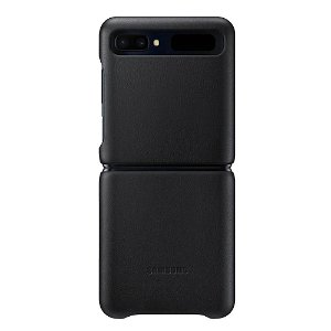 Original Samsung Galaxy Z Flip Leather Cover EF-VF700LB - Sort