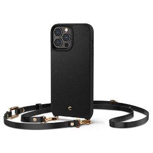 iPhone 13 Pro Max Spigen Cyrill Classic Charm Læder Bagside Cover m. Strop - Sort