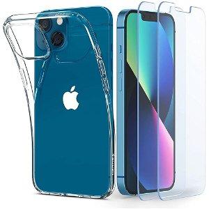iPhone 13 Mini Spigen Liquid Crystal Bagside Cover m. 2x Hærdet - Gennemsigtig