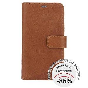 RadiCover 2-in-1 - iPhone 12 Mini - Ægte Læder Cover - 86% Strålingsbeskyttelse - Brun