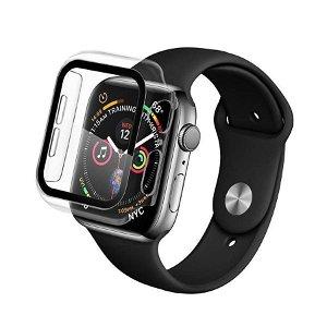 Apple Watch SE / 6 / 5 / 4 (44mm) QDOS Infinity Glass Cover + Glas - Gennemsigtig / Sort
