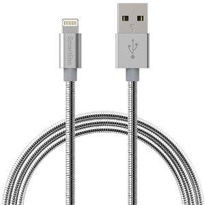 Smartline Metallic (2.4A/12W) USB-A - Lightning Kabel 1 m. - Metallisk Sølv