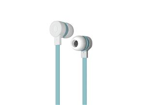 Puro Sport Stereo Flatcable Earphone - Hvid/Lyseblå